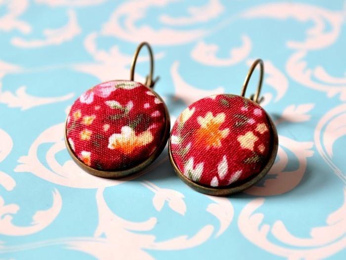 Handmade fabric jewellery earings from Schokofuchs on DaWanda