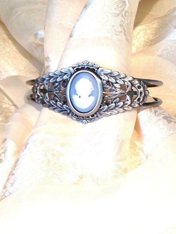Blue Lady Cameo Bracelet Cuff in Ornate Leafy Antiqued Silver