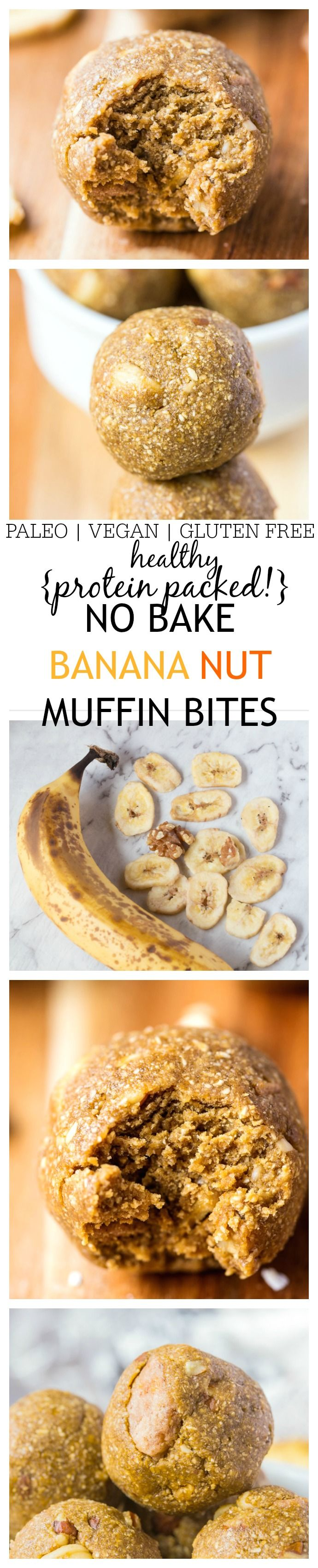 Healthy {Protein Packed!} No Bake Banana Nut Muffin Bites- The doughy taste and texture of a bakery style banana nut muffin yet requiring no baking, flour, butter or oil! {vegan, gluten-free, paleo options}
