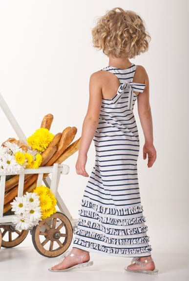 Kate Mack Navy Stripe Summer Maxie Dress4 to 16 YearsMatching Sun Hat AvailableToo!Now In Stock