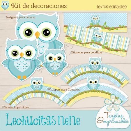 Kit de decoraciones lechucitas o b hos para imprimir y - Decoraciones para bebes ...