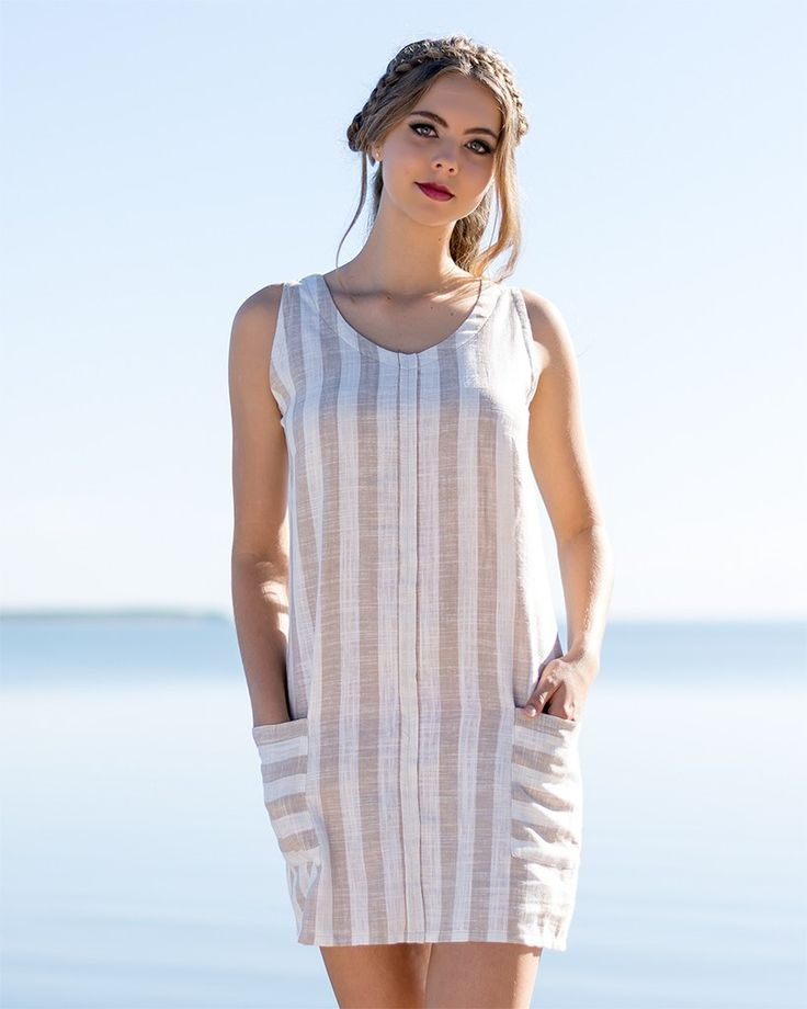 Adore Dress in Linen with Accent and Pockets in Cream and Fawn Stripes