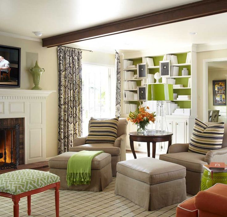 Green and Orange: Bookcase, Interior, Ideas, Living Rooms, Livingrooms, Colors, Family Rooms, Design