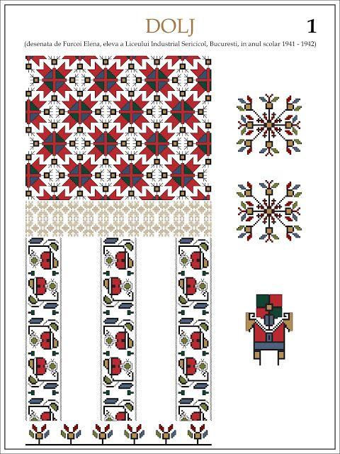 Semne Cusute: ie din DOLJ  Modele de ii Romanesti din caietul elevei Furcoi Elena, de la Liceul Industrial Sericicol Bucuresti, care a desenat aceste planse in clasa a VIII-a, anul scolar 1941 - 1942
