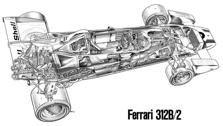 1970-1971 ferrari 312 b2 - illustrated by tony matthews
