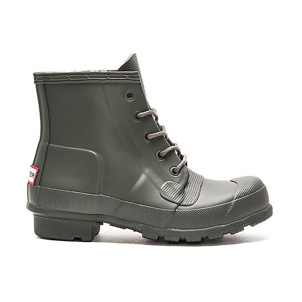 Hunter Original Lace Up Rain Boot Shoes (573.775 COP) ❤ liked on Polyvore featuring shoes, boots, ankle booties, ankle boots, hunter boots, laced booties, low heel ankle boots, bootie boots and short heel boots