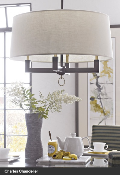 $399 Charles Chandelier Drum shape again, but like the colors and feel - simple and clean lines.  Maybe add a custom fabric?