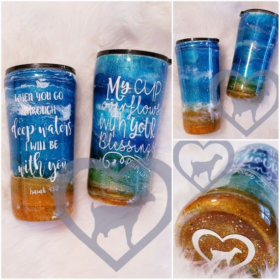 gifts for her Stainless steel travel mug Beachy tumbler personalized tumblers Beach Glitter Tumbler