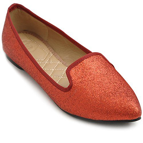 Ollio Womens Ballet Shoe Comfort Glitter Multi Color Flat 65 BM US Red >>> Want to know more, click on the image. Note:It is Affiliate Link to Amazon.