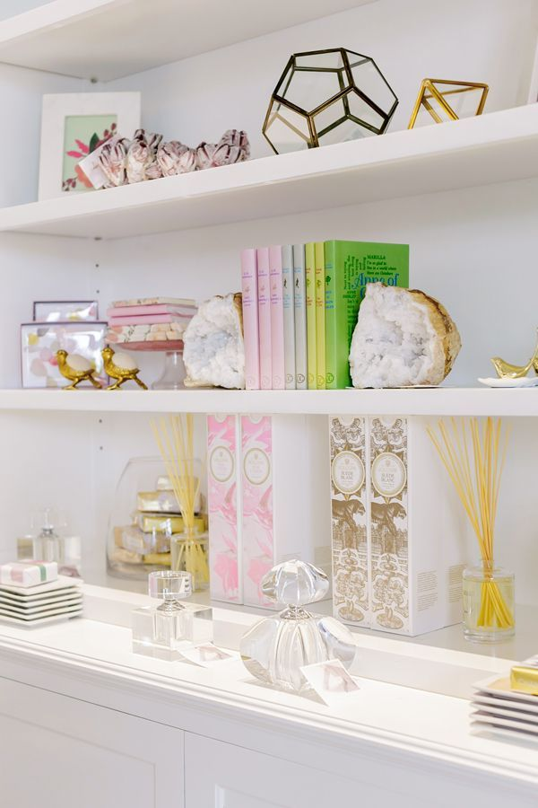 Beautiful shelf staging, pastels, girly, pretty interiors, family room, living room, home office.