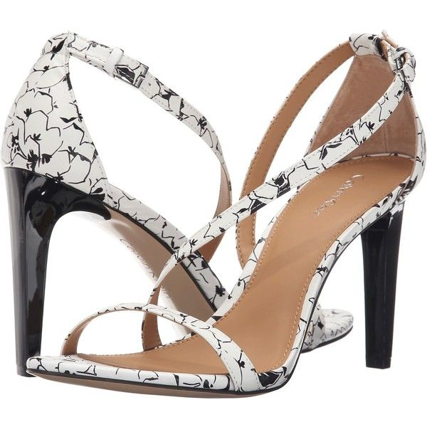 Calvin Klein Narella (White/Black Graphic Flower Leather) High Heels ($66) ❤ liked on Polyvore featuring shoes, sandals, white, white platform shoes, black and white sandals, flower sandals, platform sandals and white high heel sandals