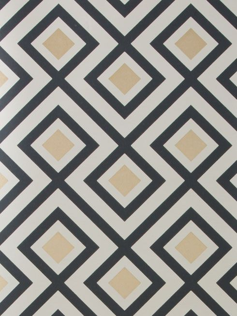 La Fiorentina Wallpaper A geometric wallpaper designed by David Hicks featuring a large diamond shaped design printed in charcoal and gilver on a pale grey background.