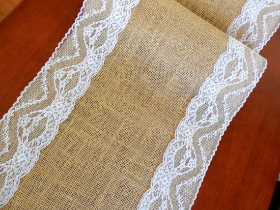 Burlap table runner wedding table runner with by DaniellesCorner, $21.00