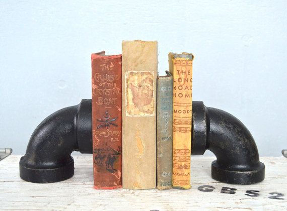 Black Industrial Bookends, Old Reclaimed Rustic Pipe, Home Decor Accents   Unique U0026 Modern Bookshelf Decoration. By Dennis John Industrial