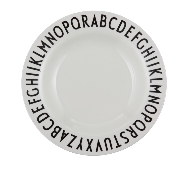 Our melamine plate with Arne Jacobsen typography. For children (and their design loving parents)