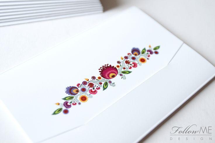 Zaproszenia ślubne z kwiatami ludowymi, Białe zaproszenia ślubne - kwiaty ludowe / Białe dekoracje ślubne od FollowMe DESIGN / Polish Folk Flowers Wedding Invitation, White Wedding Wedding Invitations, Decorations & Details by FollowMe DESIGN