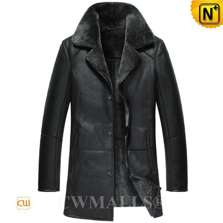 CWMALLS® Denver Black Sheepskin Trench Coat CW807123