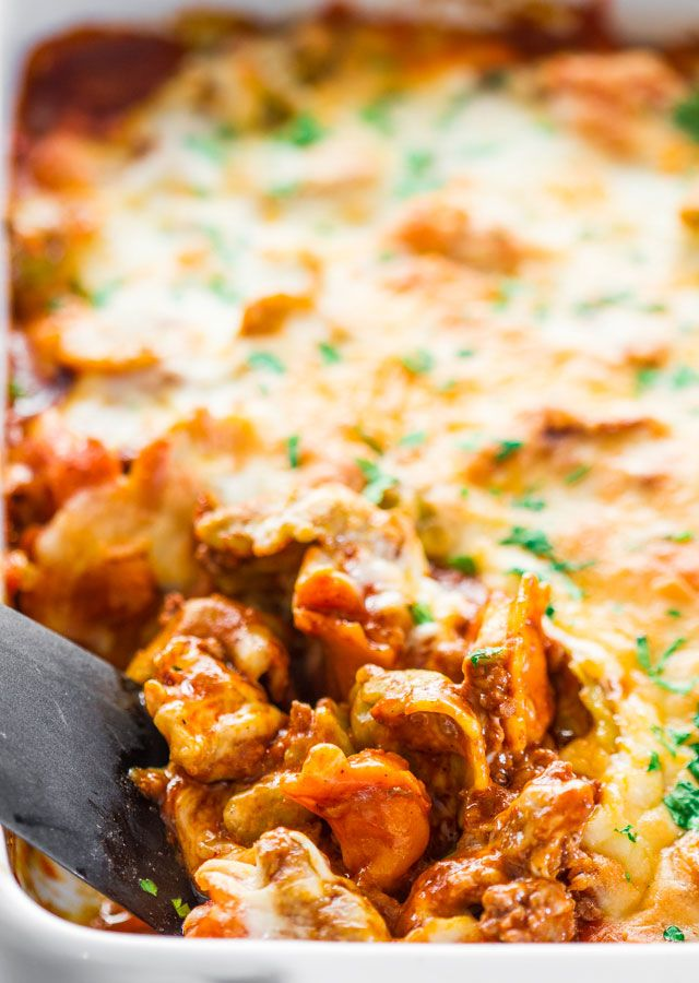 Cheesy Beef Tortellini Enchilada Casserole - a comforting casserole that only requires 4 ingredients and very little time. Make this for dinner tonight!
