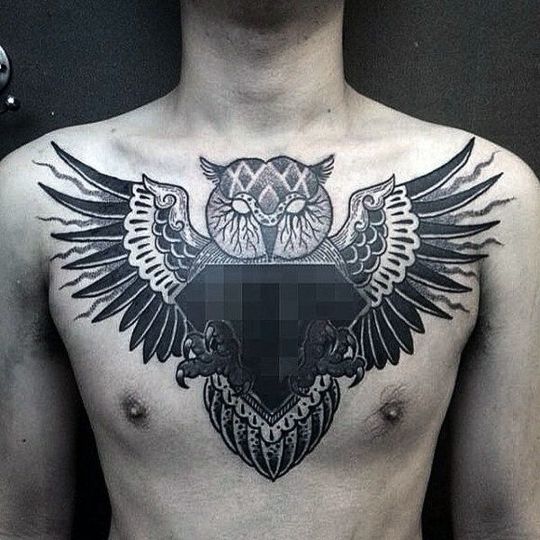 70 Brilliant Chest Tattoos: 70 Owl Chest Tattoo Designs For Men