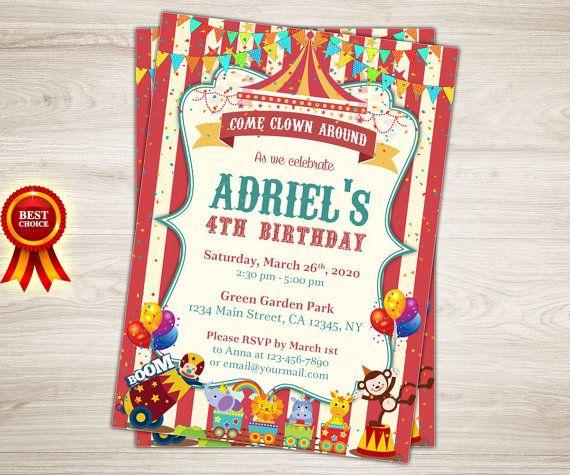 circus theme invitations