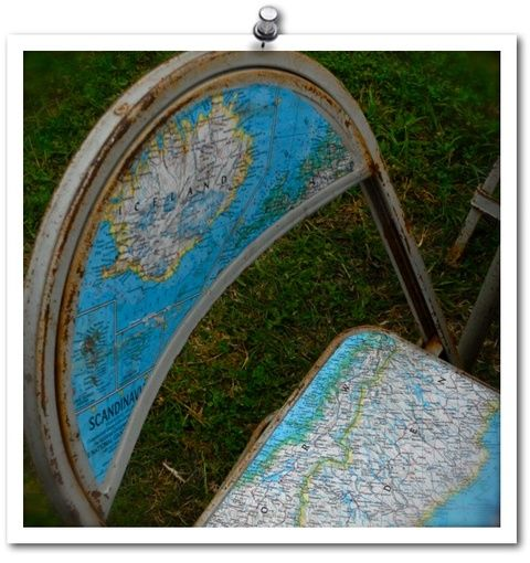 recycled chairs and maps