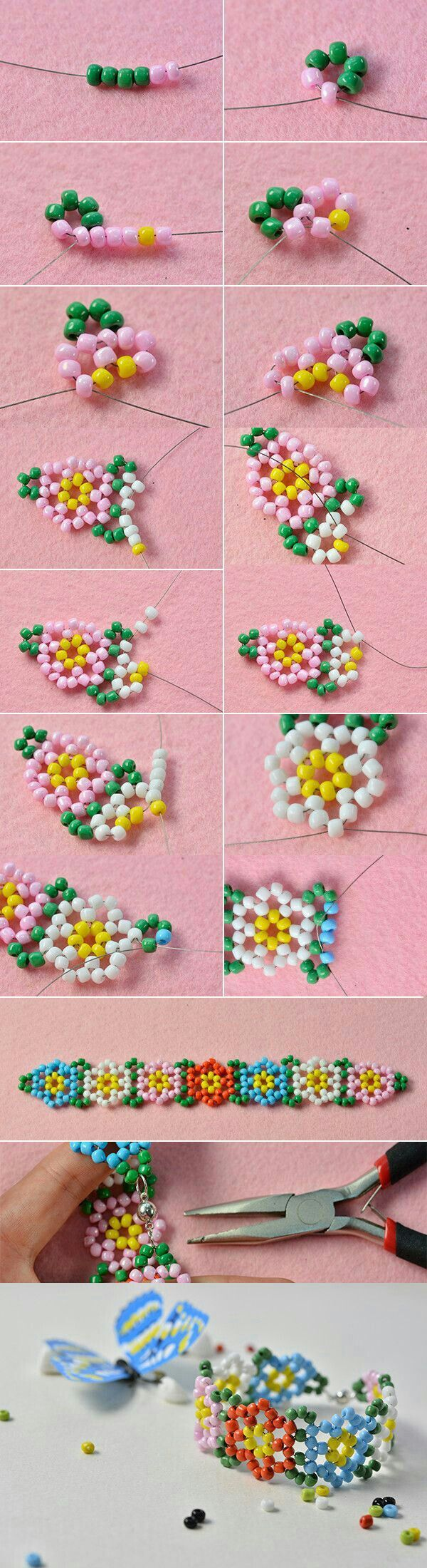 Seed Bead Flower Motif picture Tutorial for bracelet