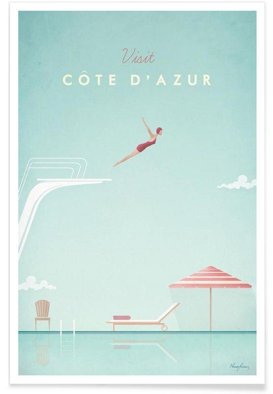 Côte d'Azur als Premium Poster von Henry Rivers | JUNIQE