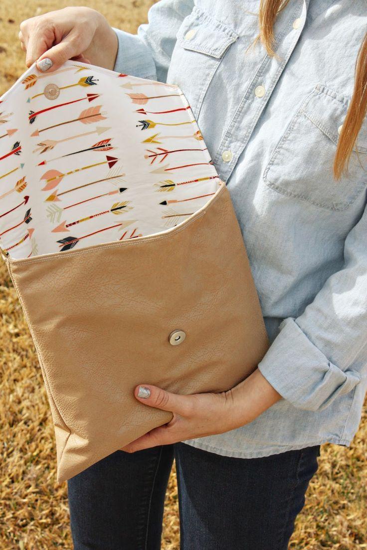 Bricolaje Una bolsa en forma de sobre. (Tutorial de embrague de envolvente) (continuación