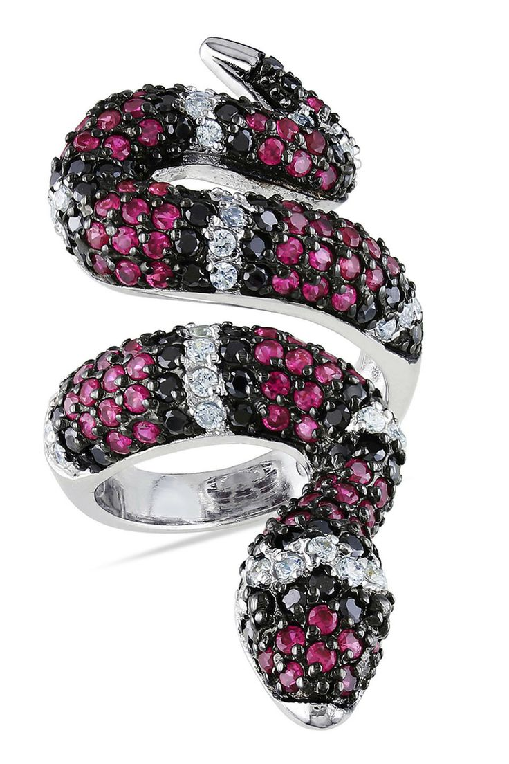 Gallery 10 Silver Red Black & White Cubic Zirconia Snake Ring - Beyond the Rack