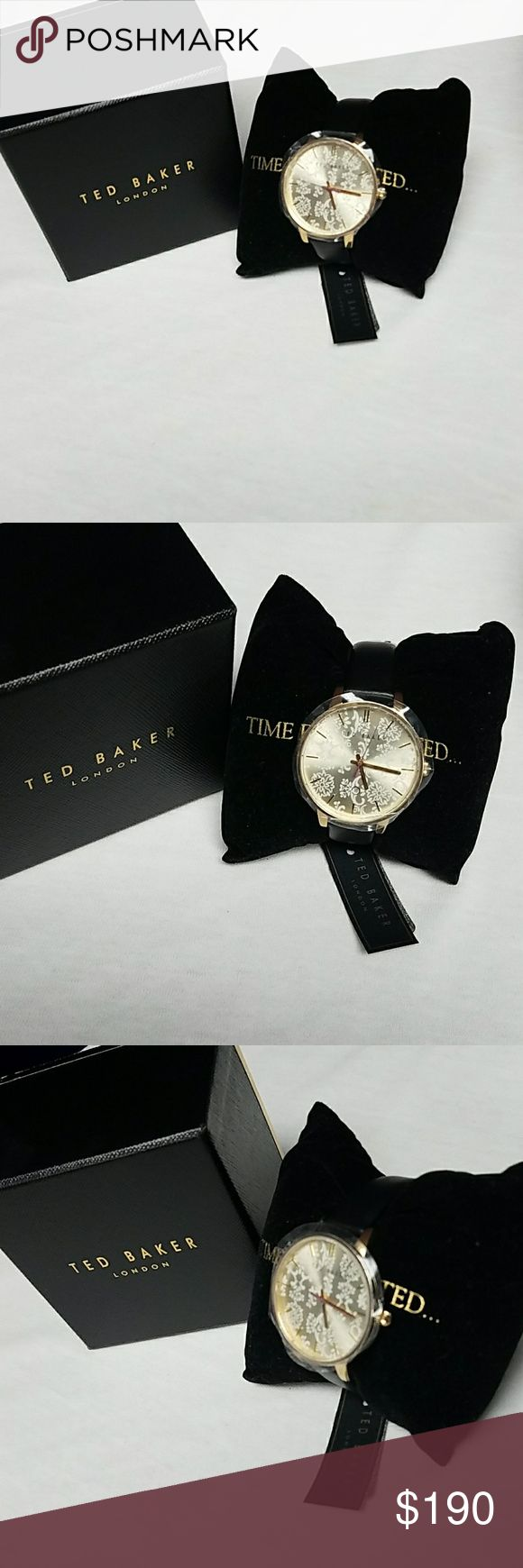 Ted Baker Watch Golden face with a floral design with a Black Leather Strap 20mm Ted Baker London Accessories Watches