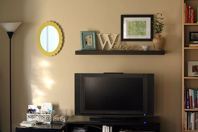 Wall Decor Above The Tv : I like this floating shelf over the tv get in my house