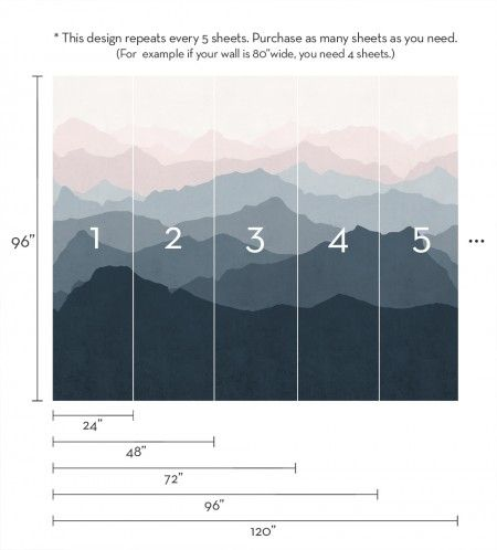 Mountain Mural Wall Art Wallpaper - Grayish Navy Pale Pink - Peel and Stick