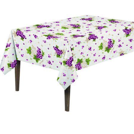 Ottomanson Vinyl Grape Vine Design Indoor & Outdoor Tablecloth with Non-Woven Backing, White