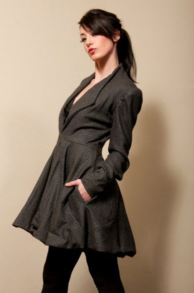 Winter Wool Jacket Dress - Available in Gray, and Black