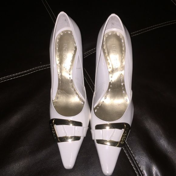 BCBG White and Gold Heels! Beautiful white heels!  Man made lining and sole!! I hate to get rid of them but recently had ankle issues can't wear heels anymore  BCBGirls Shoes Heels