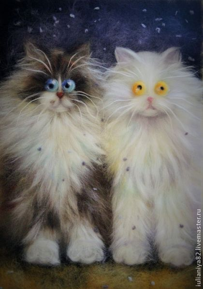 Стилизованные котики по мотивам живопис Ким Хаскинс.Картина из шерсти. -