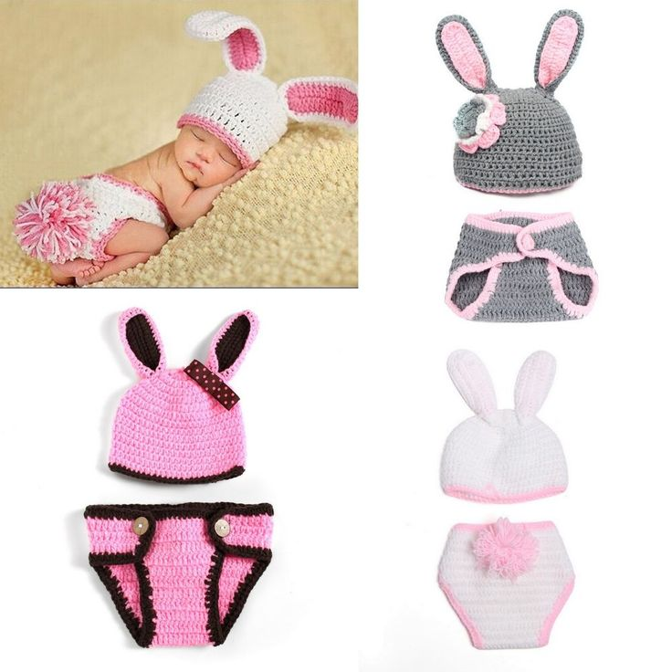 Newborn Baby Girl Crochet Knit Hat Diaper Cover Costume Photography Easter Bunny in Baby, Baby Clothing, Accessories | eBay