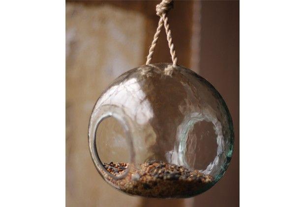 Recycled Round Glass Hanging Bird Feeder or Terrarium - From Antiquefarmhouse.com - http://www.antiquefarmhouse.com/past/recycled-glass/recycled-round-glass-hanging-birdhouse-or-terrarium.html