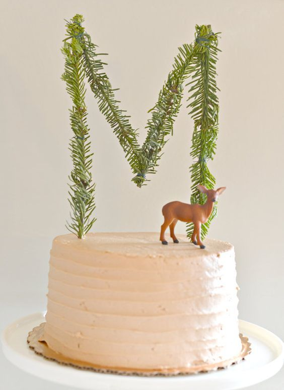Fresh Evergreen Woodland Monogram Cake Topper.