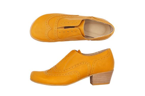Womens oxfords heels shoes yellow mustard leather wide handmade, Shoes on sale 30% off adikilav