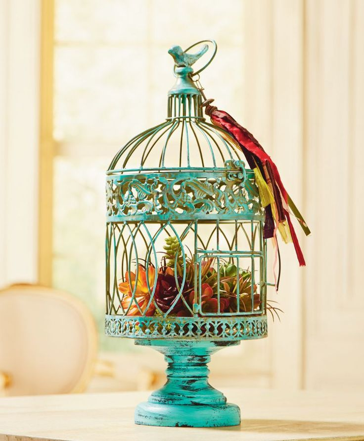 Turquoise Bird Cage Bird Cages Planters And Bird