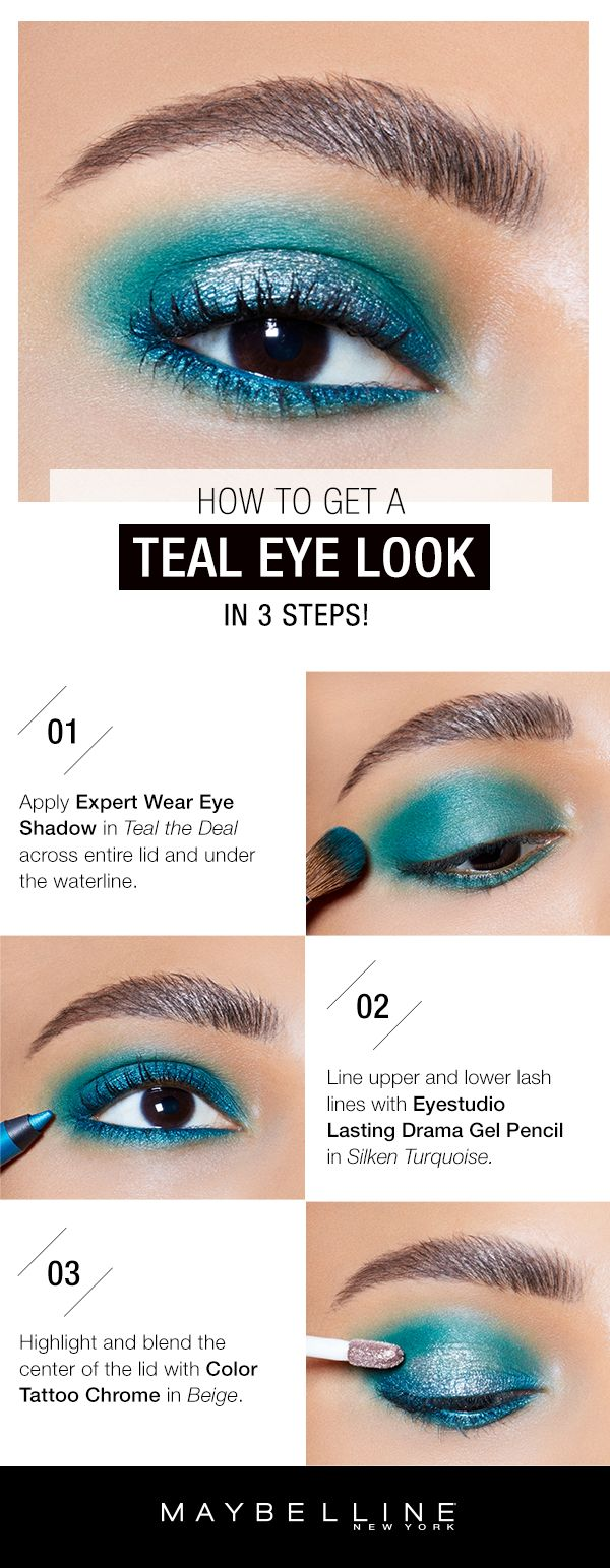 Rock some color on your eyes for prom! This teal eye makeup look will pop against brown eyes and will really make a statement with your prom dress.  First, apply Expertwear Eyeshadow Mono in 'Teal the Deal' across the entire lid and under the waterline.  Next, line upper and lower lash lines with Lasting Drama Gel Pencil in 'Silken Turquoise'.  Then, highlight and blend the center of the lid with Color Tattoo Eye Chrome in 'Beige Luster'.
