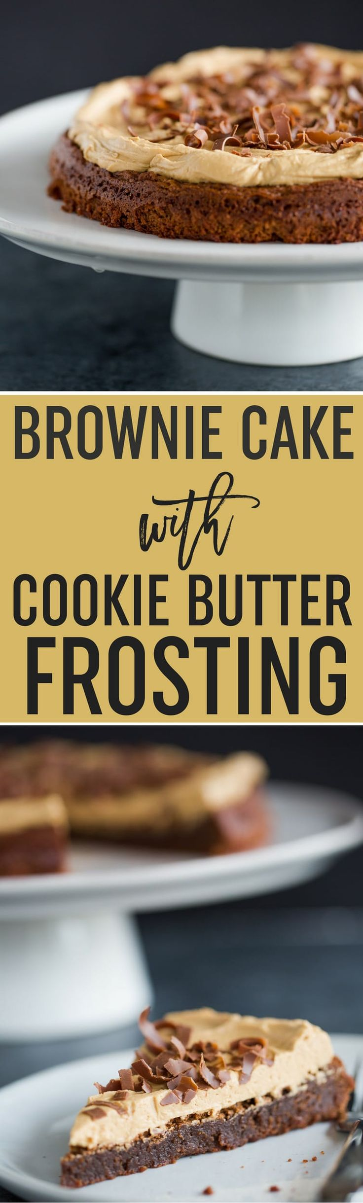 Brownie Cake with Cookie Butter Frosting | A dense and moist brownie is baked into a cake then topped with Biscoff frosting. A perfect combination of sweet, salty, and a touch of spice! An easy dessert perfect for company!  Brown Eyed Baker