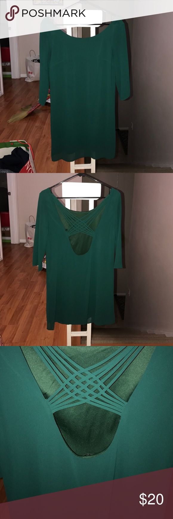 Tobi Green Dress Deep Green Dress, strappy in the back, quarter-sleeve dress perfect for semi-formal occasions or night outs with some friends! Tobi Dresses Mini
