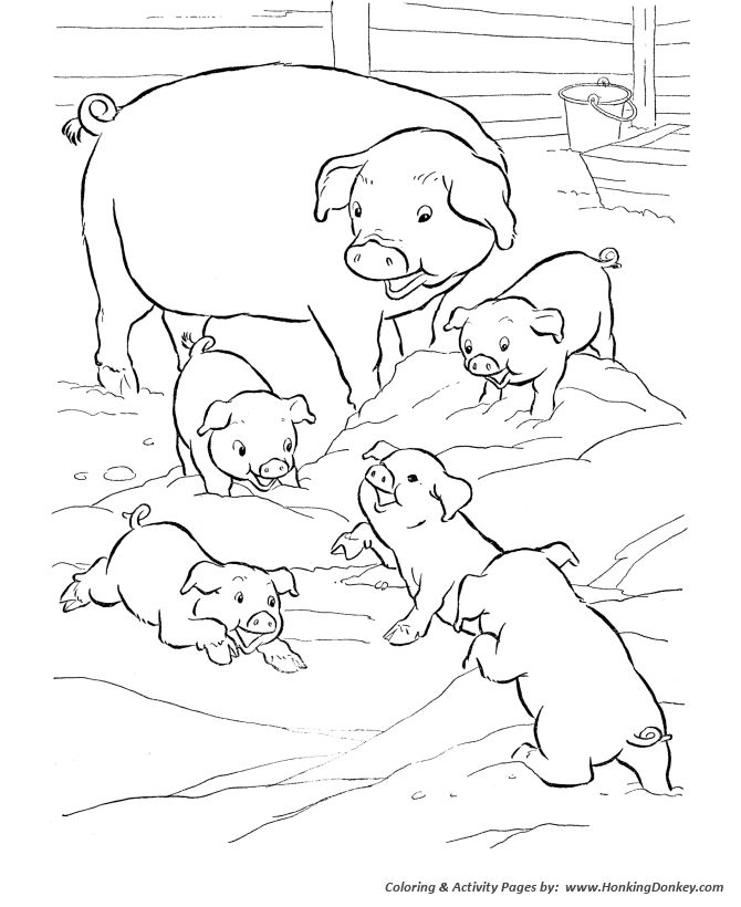 Farm Animal Coloring Page Pages Featuring Pigs Play In The Mud Sheets