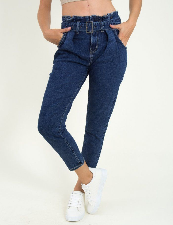 74d1358dc4a Γυναικείο μπλε ψηλόμεσο παντελόνι με ζώνη ITA1168 #online #eshop #gynaikeia  #τορούχο #torouxo #φθινοπωρινά #παντελόνια #pantelonia