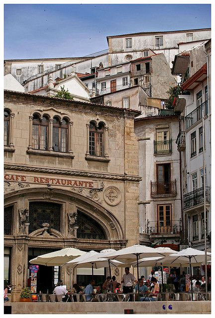Cafe Santa Cruz and up by Gurugo, via Flickr, Coimbra, #Portugal