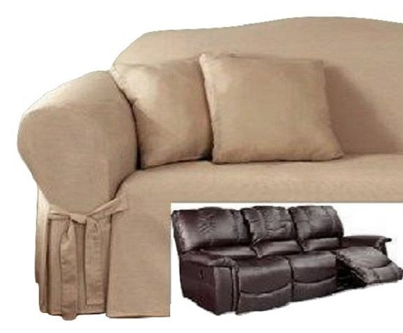 Superb Reclining SOFA Slipcover Cotton Taupe Adapted For Dual Recliner Couch