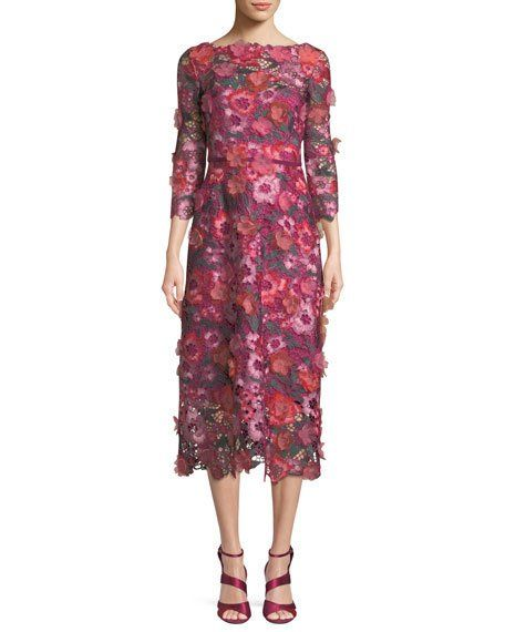 3D Floral Guipure Lace V-Back Midi Cocktail Dress