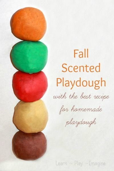 The perfect playdough recipe in yummy fall scents and colors. **MAJOR TRICK** Boil water in kettle, place all ingredients in Kitichen Aid, mix on low speed until desired consistency! No stirring involved! Love it!
